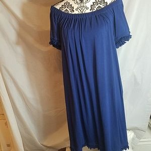 Michael Kors navy blue Off Shoulder Fringe dress